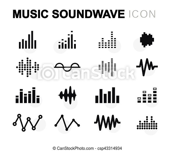 Vector flat music soundwave icons set - csp43314934