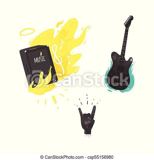Vector Flat Music Symbol Guitar Amplifier Rock Vector Flat Music