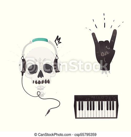 Vector Flat Music Symbol Rock Gesture Skull Piano Vector Flat Music