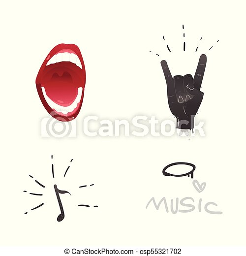 Vector Flat Music Symbol Rock Gesture Mouth Note Vector Flat Music