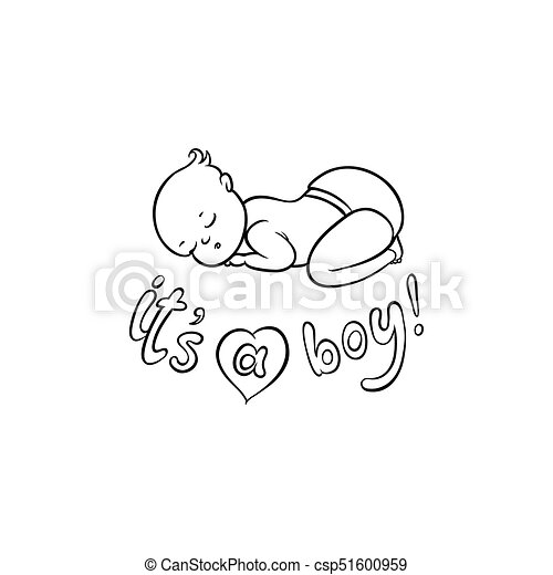 Vector Flat Newborn Cute Baby Boy In Diaper Vector Flat Monochrome