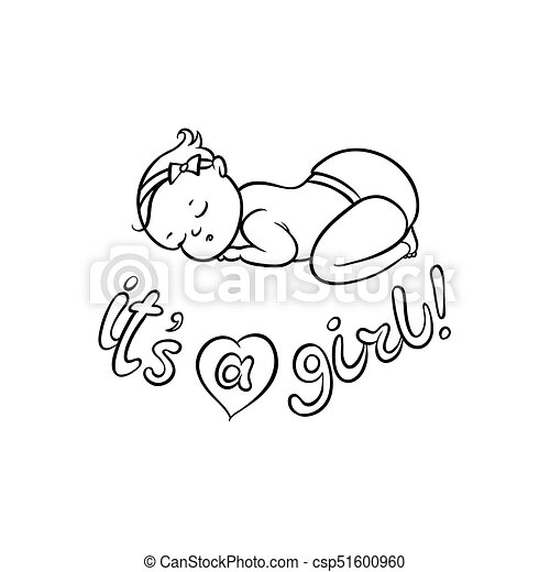 Vector Flat Newborn Cute Baby Girl In Diaper Vector Flat Monochrome