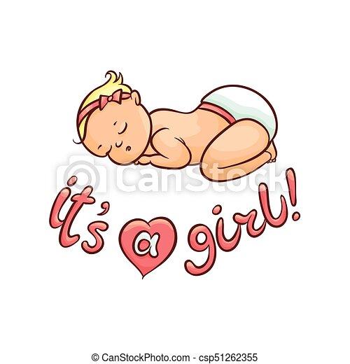 Vector Flat Newborn Cute Baby Girl In Diaper Vector Flat Cartoon Style Newborn Cute Infant Baby Boy Toddler In Diaper Or