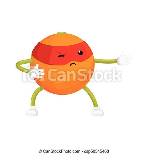 vector flat orange ninja character in mask - csp50545468