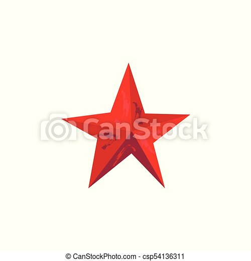 Vector Flat Red Army Victory Star Icon Isolated Vector Flat Army