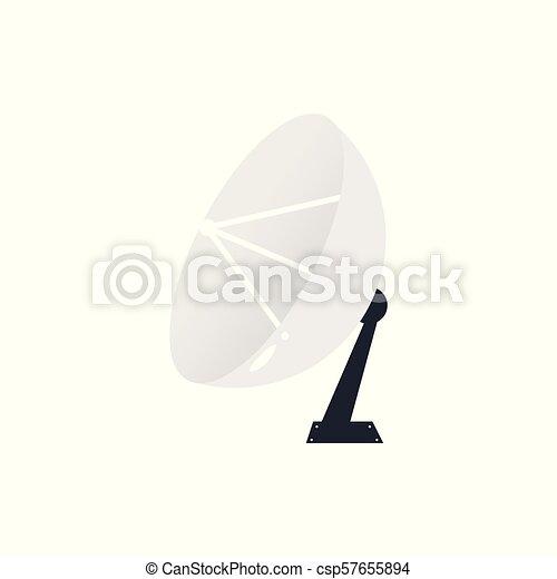 Vector flat satellite radar dish with antenna icon