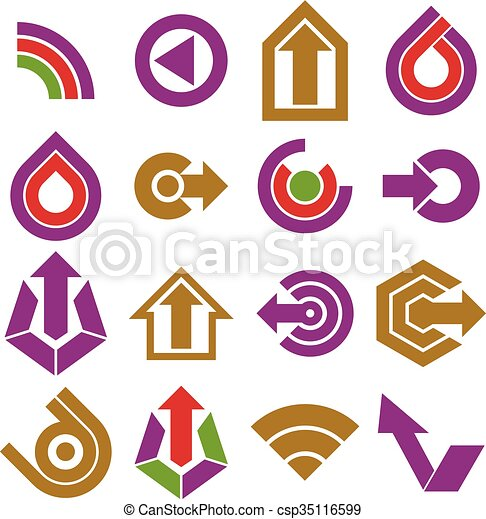 Vector flat simple navigation pictograms collection. Set of colorful corporate abstract design elements. Arrows and circular web icons. - csp35116599
