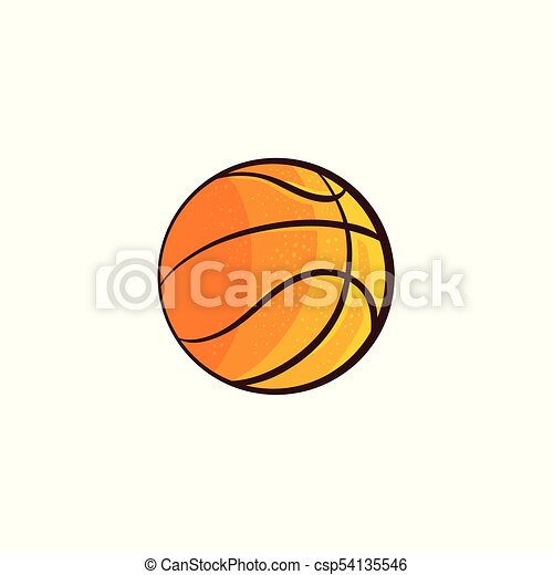 Vector Flat Sketch Basketball Ball Isolated