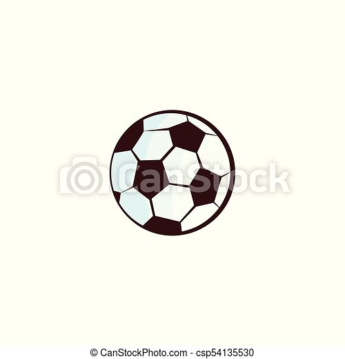 Vector Flat Sketch Football Ball Isolated