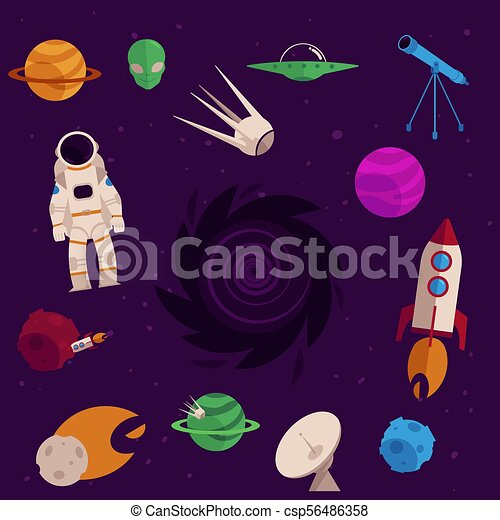 Vector flat space, cosmos objects icon set - csp56486358