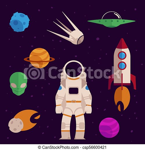 Vector flat space, cosmos objects icon set - csp56600421