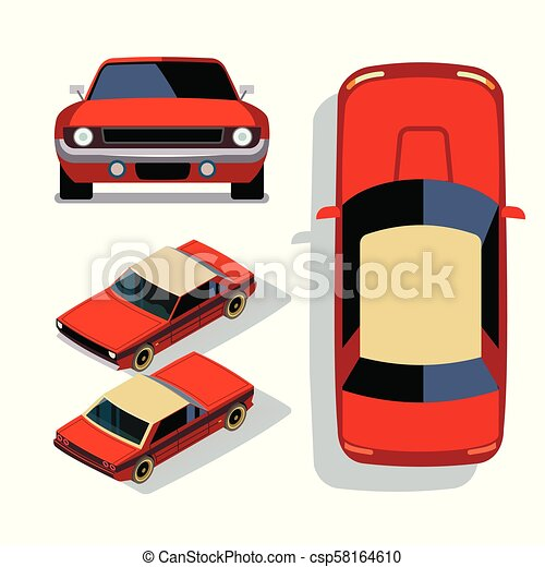 Vector Flat Style Cars In Different Views Red Muscle Car Sedan
