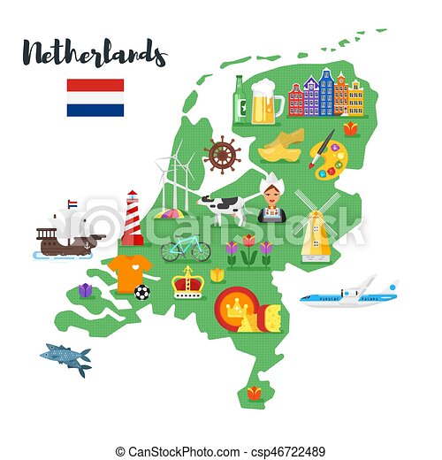 Vector flat style illustration of netherlands map with vector