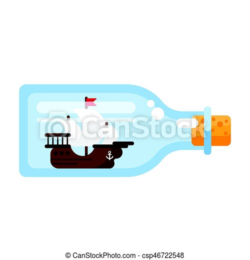 Vector flat style illustration of ship in a glass bottle. - csp46722548