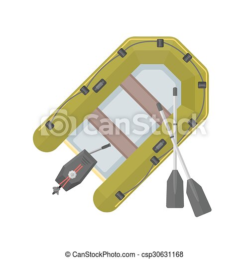 vector flat style inflatable boat illustration - csp30631168