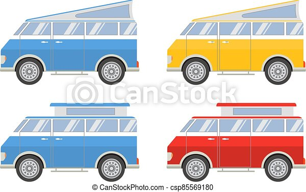 Vector flat with the image of the tourist van.Camping van for travel. Vintage bus. - csp85569180