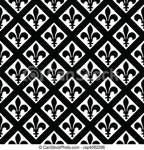 vector fleur de lys pattern seamless tile included easy to clip art vector search. Black Bedroom Furniture Sets. Home Design Ideas