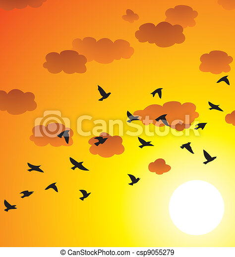 vector flock of flying birds, clouds and bright sun - csp9055279