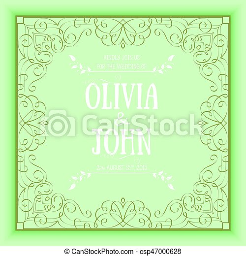 Vector Floral And Geometric Monogram Frame On Green Background Elegant Invitation Or Wedding Card Design Element