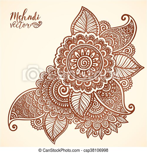 Vector floral element in mehndi henna tattoo style - csp38106998
