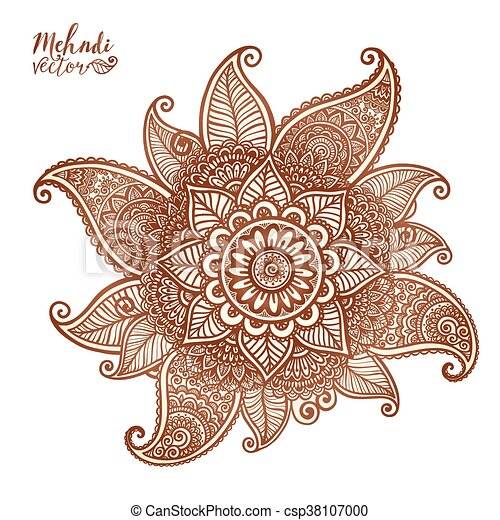 vector floral element in mehndi henna tattoo style vector vector rh canstockphoto com henna vector art henna vector free download