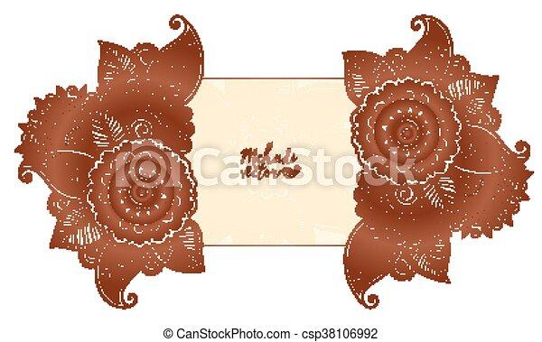 Henna Mehndi Vector : Vector floral elements in indian mehndi henna tattoo style eps