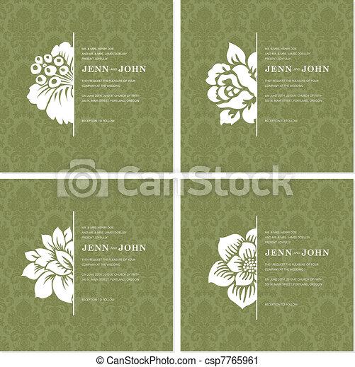 vector, floral, frame, set, versieringen - csp7765961