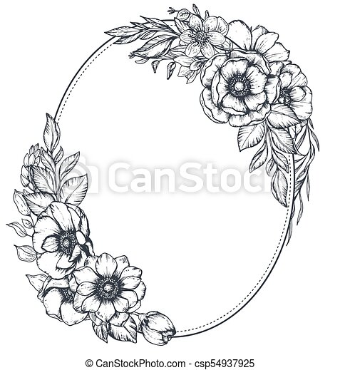 Vector floral frame with bouquets of hand drawn anemone flowers ...
