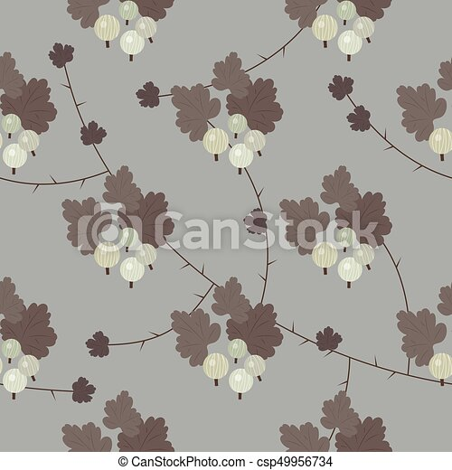 Vector floral gooseberry seamless pattern - csp49956734