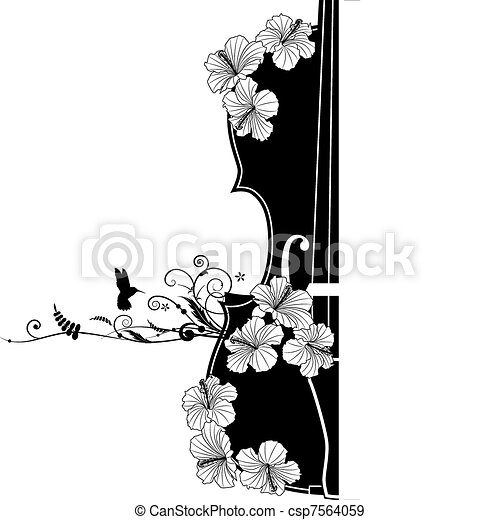 Vector floral musical composition  - csp7564059