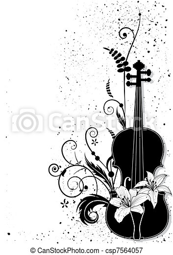 Vector floral musical composition  - csp7564057