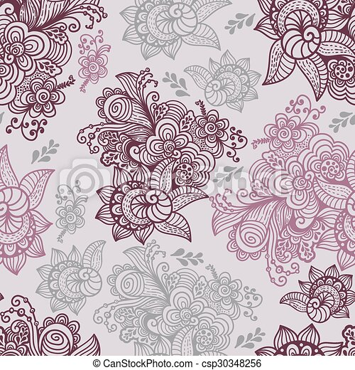 Vector Floral Seamless Pattern - csp30348256