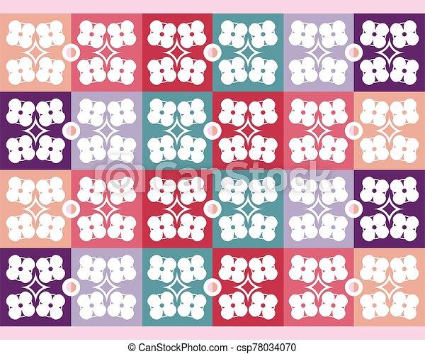 vector, flores coloridas, seamless, patrón - csp78034070