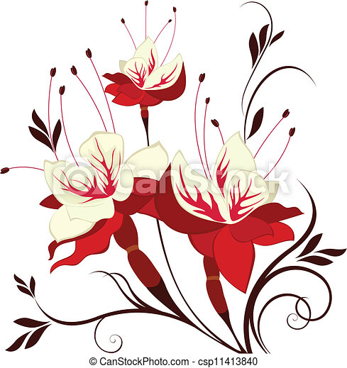 Vector Flower Fuchsia Decorative Composition Bunch Of Flowers