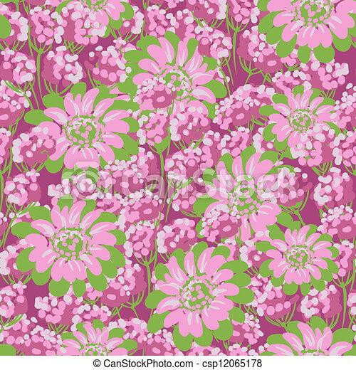 Vector Flower (Seamless Pattern) - csp12065178