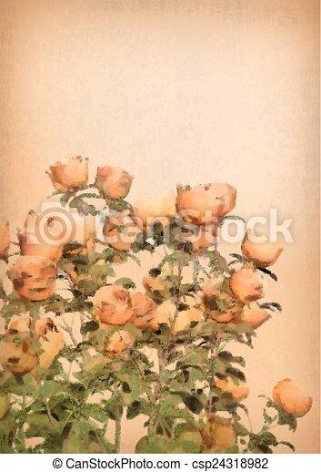 vector flower watercolor roses bush hand drawn vector watercolor
