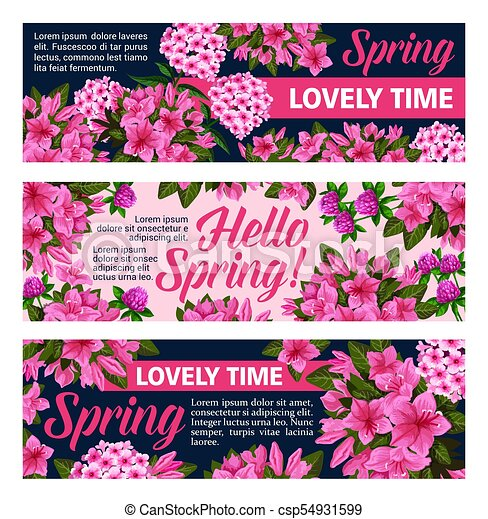 Vector Flowers Banners For Springtime Season Hello Spring Banners