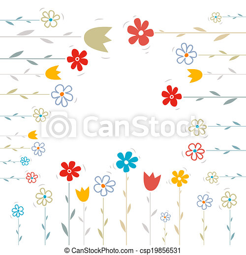 Vector Flowers Illustration on White Background - csp19856531