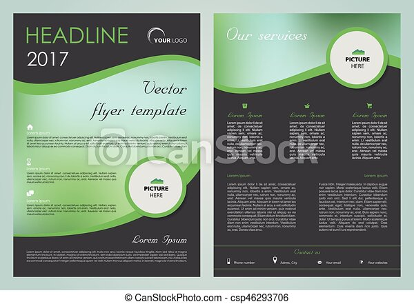 vector flyer corporate business annual report brochure design and cover presentation with green wave front page and back page