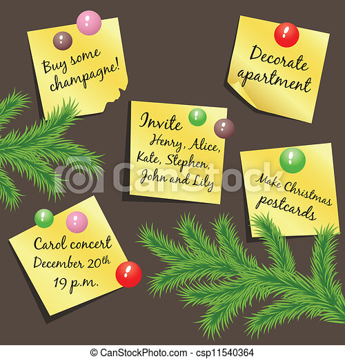 Vector flyers with Christmas notes  - csp11540364
