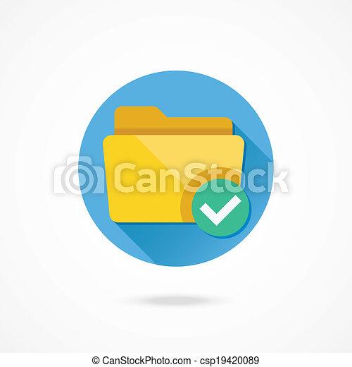 Vector Folder and Tick Icon - csp19420089