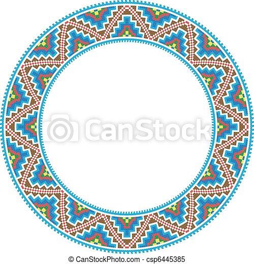 Vector folk round frame cross-stitch traditional.