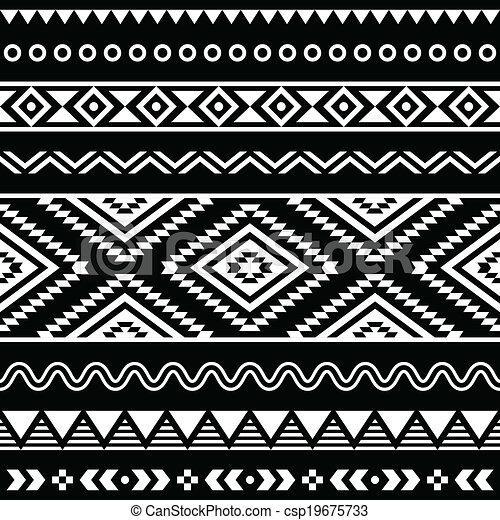 Vector folk seamless aztec ornament - csp19675733