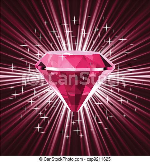 Diamante rojo sobre fondo brillante. Vector - csp9211625