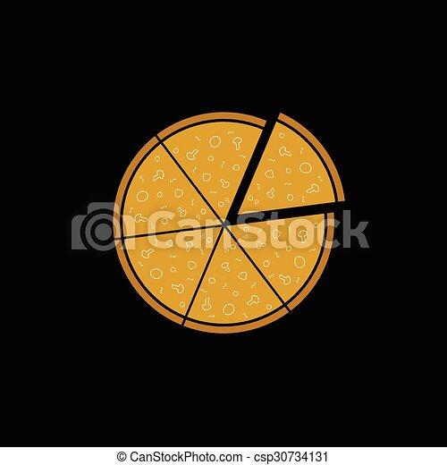 Pizza en vector de fondo negro - csp30734131