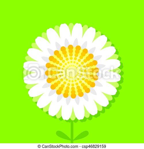 Ilustración de vectores de margarita en el fondo verde - csp46829159