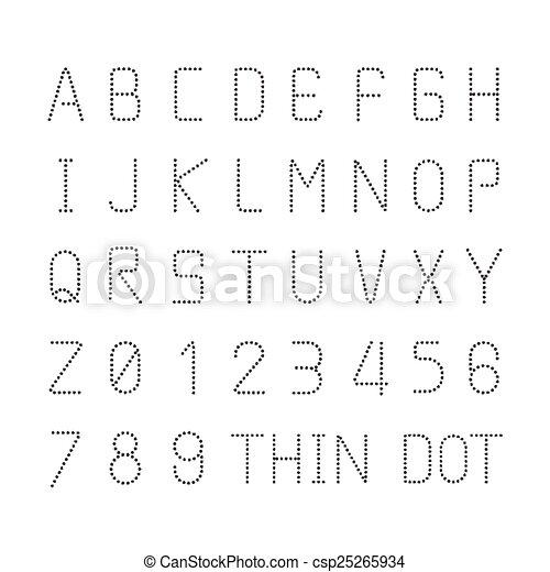 Vector font thin dot alphabet character style design set - csp25265934
