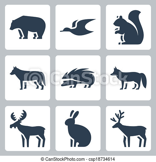 Vector forest animals icons set - csp18734614