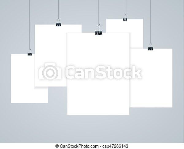 Vector, foto, blanco, papel, cartel, marcos, o, templates ...