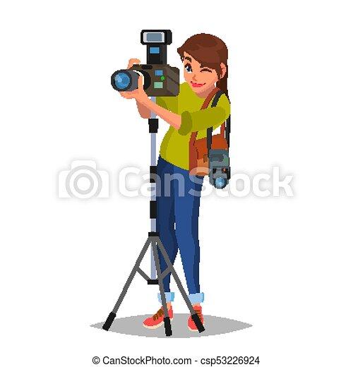 Junge Fotografin. Mach ein Foto. Fotografische Ausrüstung. Ich halte eine Kamera. Isoliert auf weiße Zeichentrickfiguren Illustration - csp53226924